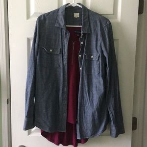 Bundle blue long sleeve button up w/ burgundy top